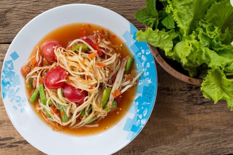 Салат папапайи с свежим овощем стоковое изображение rf