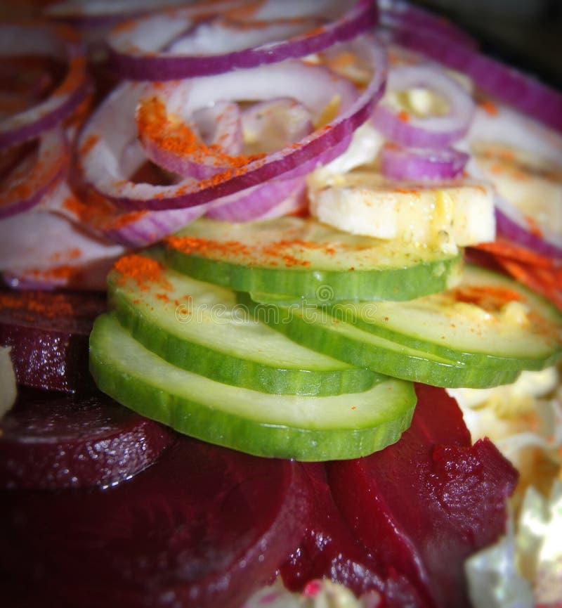 Салат паприки банана томата огурца лука стоковые изображения