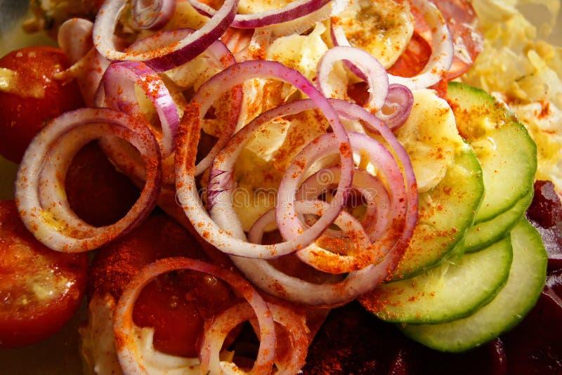 Салат паприки томата огурца лука стоковые изображения