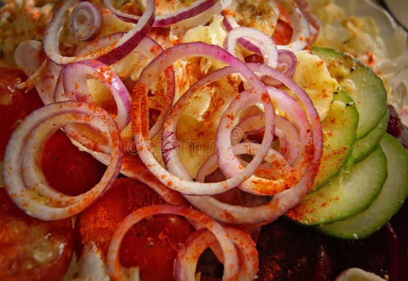 Салат паприки томата огурца лука стоковая фотография