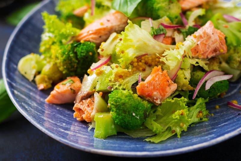 Салат потушенных семг, брокколи, салата и одевать рыб стоковое изображение