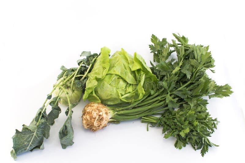 Салат, сельдерей, кольраби и петрушка стоковое фото rf