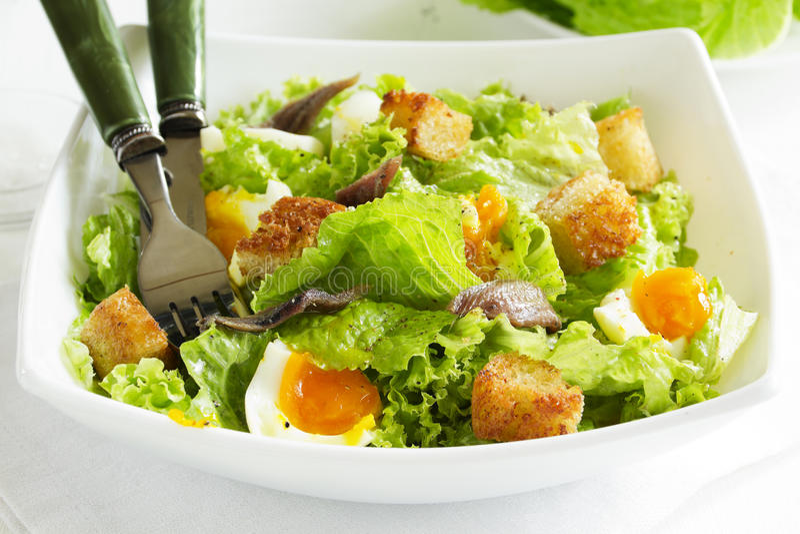 Салат с гренками, стоковое фото