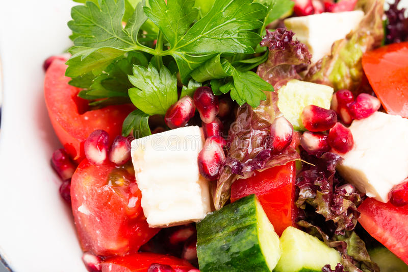 Салат томата с сыром и гранатовым деревом фета стоковая фотография