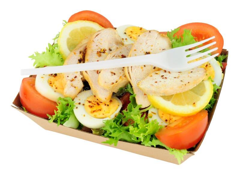Салат цыпленка и яичка в картоне принимает отсутствующий поднос стоковое фото