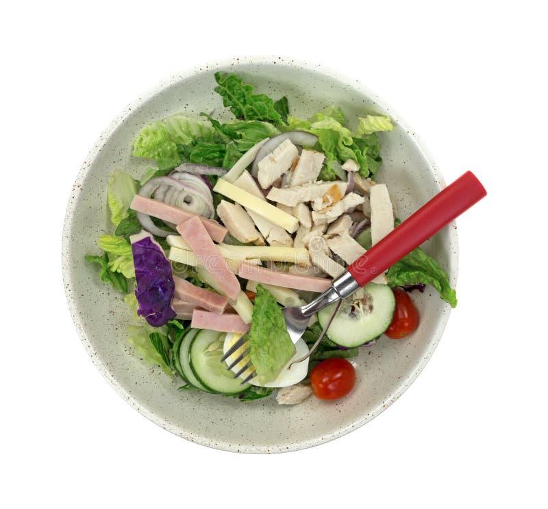 Download Салат шеф-повара в шаре с вилкой Стоковое Изображение - изображение насчитывающей тарелка, огурец: 41661797