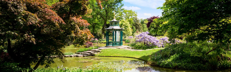 Сад воды Cliveden с пагодой стоковое фото rf