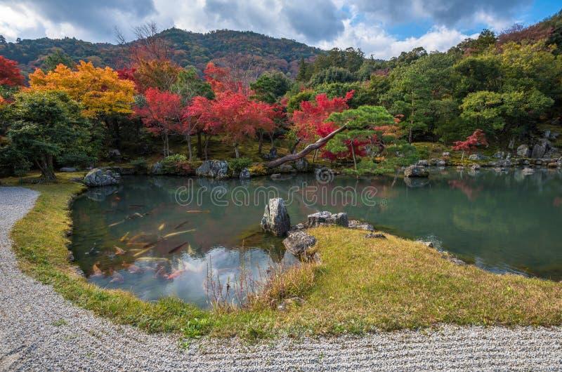 Сад в падении, Arashiyama Tenryu-ji, Киото, Япония стоковые фото
