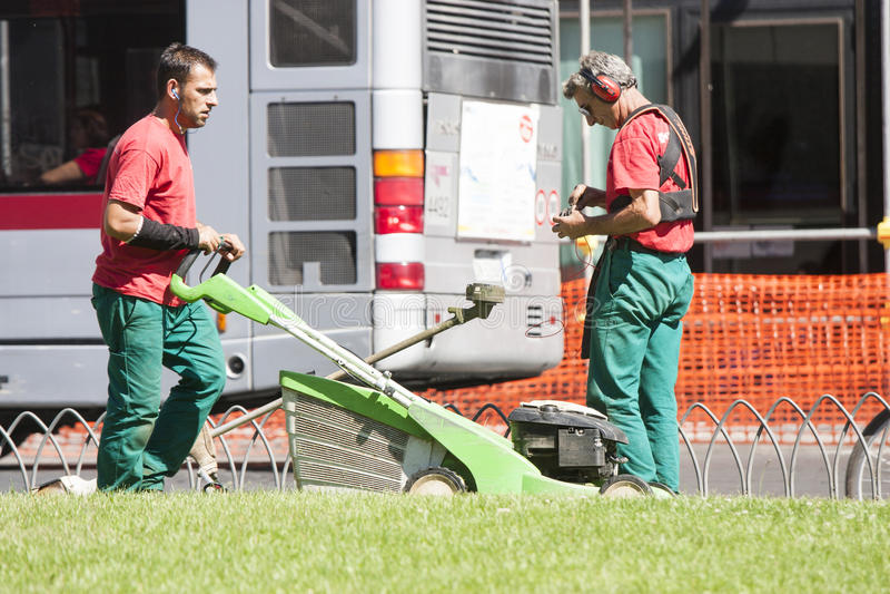 2 садовника подрезают траву (аркаду Venezia - Roma) стоковое изображение rf