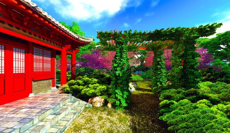 Садовничайте в китайском стиле и засадите перевод 3d стоковое фото