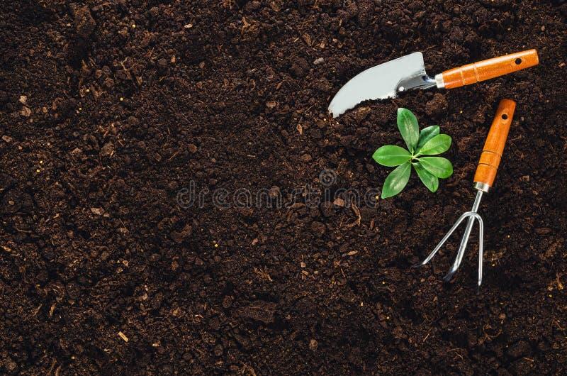 Садовничая инструменты на почве сада текстурируют взгляд сверху предпосылки стоковые изображения