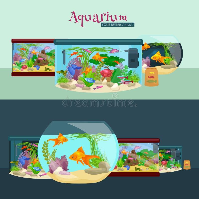 Садок для рыбы, аквариум с водой, животными, водорослями, кораллами, оборудованием иллюстрация штока