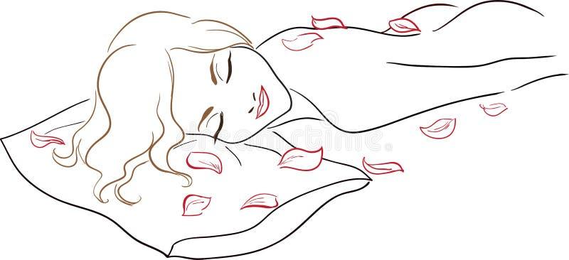 Салон спы серии - массаж, нагая женщина с поднял  иллюстрация вектора