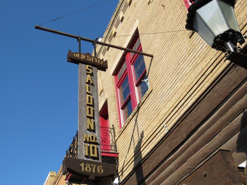 Салон старого стиля никакой 10, 1876, экстерьер, исторический городской бесполезный Южная Дакота стоковые фото