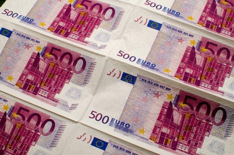 Салфетки 500 евро стоковая фотография rf