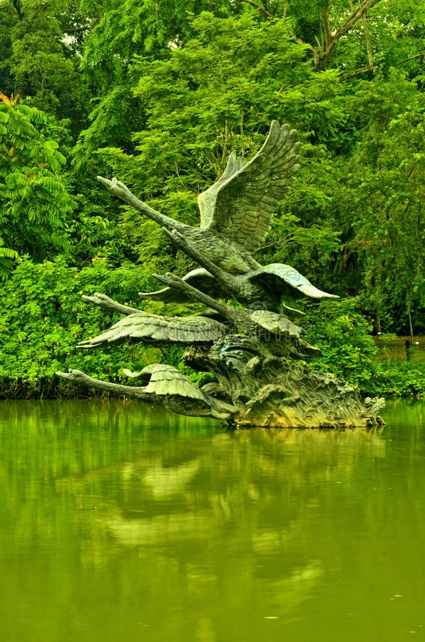 Сады Сингапура ботанические, скульптура озера лебед стоковые изображения