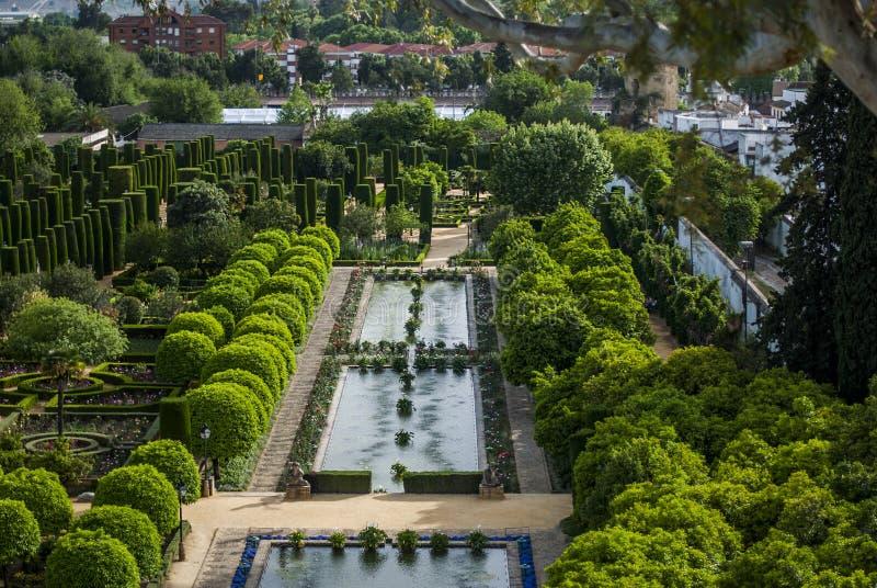 сады cordoba alcazar стоковые изображения rf