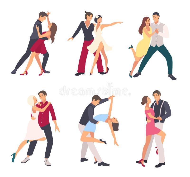 Сальса людей танцуя Пары, человек и женщина в танце, в различных позициях Красочный плоский комплект иллюстрации бесплатная иллюстрация