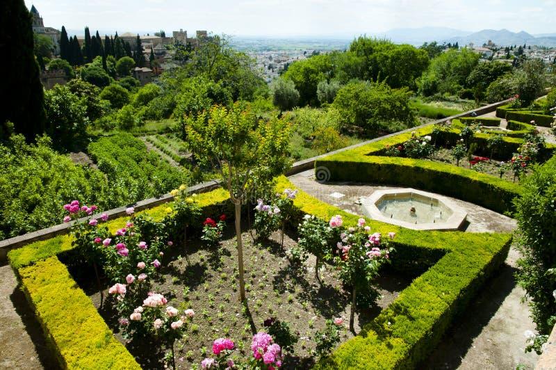 Сад Generalife в Альгамбра - Гранаде - Испании стоковая фотография