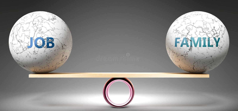 Сбалансированная работа и семья - изображаемые как сбалансированные мячи в масштабе, символизирующие гармонию и равенство между р иллюстрация вектора