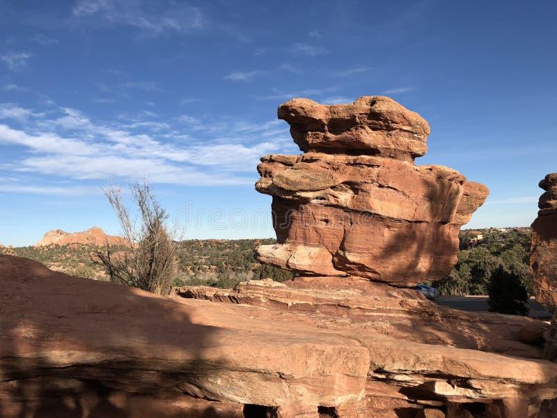 Сбалансированный утес в саде богов, Колорадо-Спрингс стоковое изображение rf