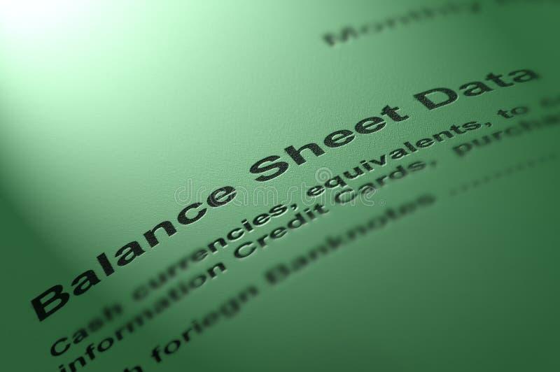 сбалансируйте лист данных стоковое фото rf