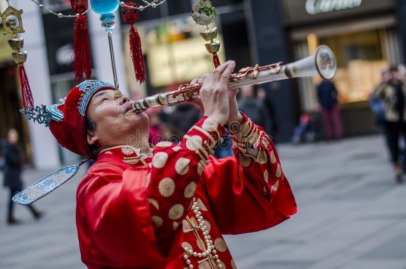 Сбалансированное китайское perfomer улицы, вена стоковая фотография