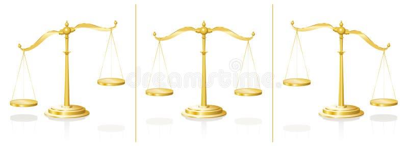 Сбалансированный масштаб нарушенным равновесие иллюстрация вектора