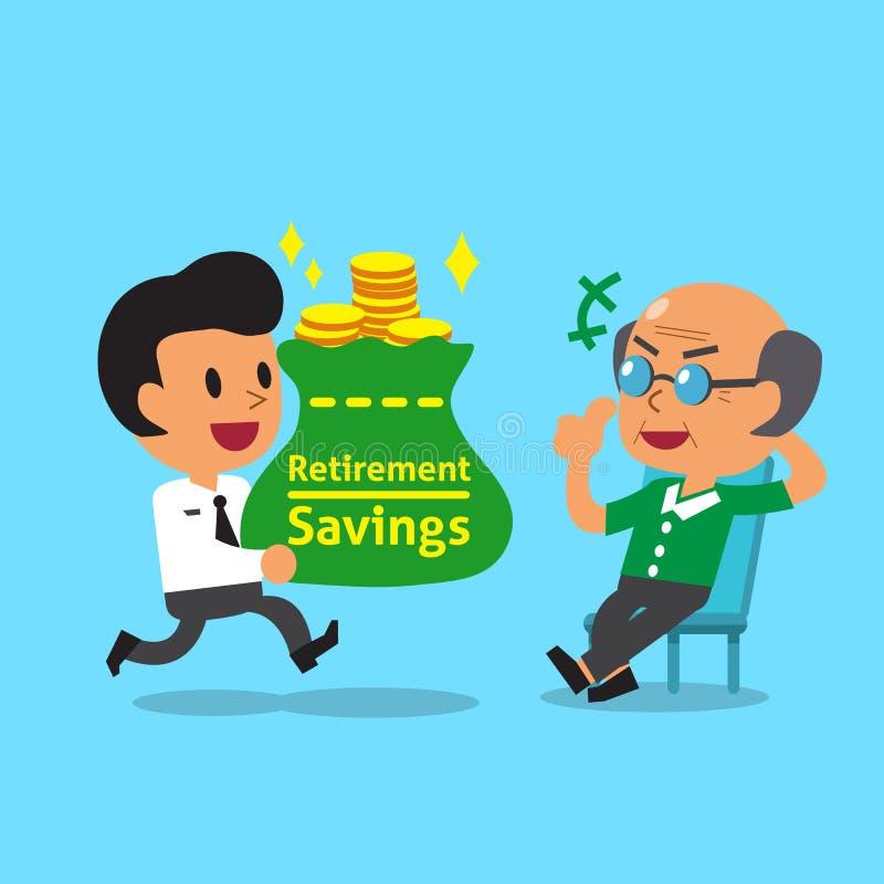 Сбережения нося выхода на пенсию бизнесмена шаржа кладут в мешки для старика иллюстрация вектора