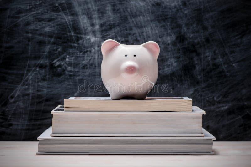 Сбережения образования финансовые Розовая копилка na górze книг с стоковая фотография