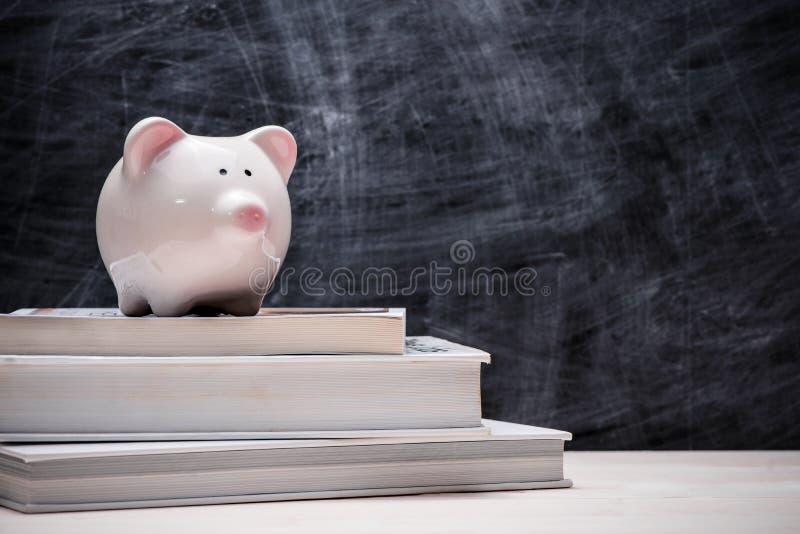 Сбережения образования финансовые Розовая копилка na górze книг с стоковая фотография rf