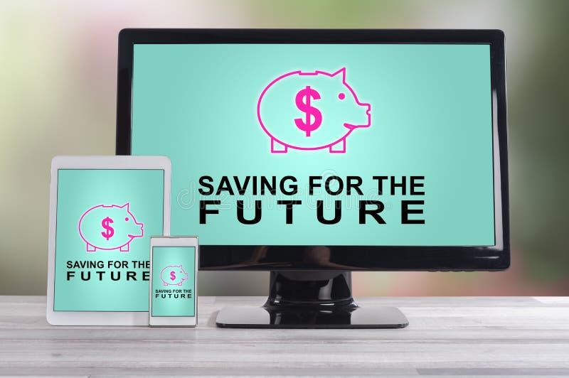 Сбережения для будущей концепции на различных приборах стоковые изображения rf