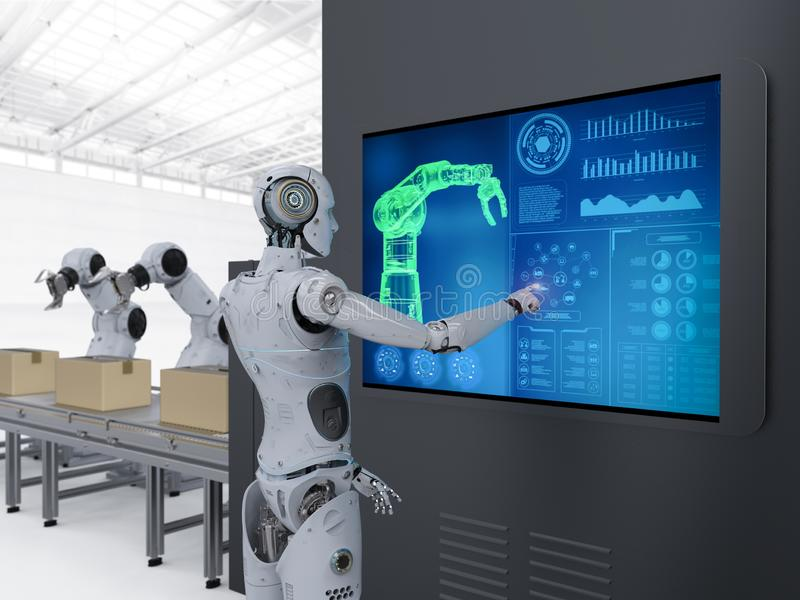 Сборочный конвейер робота иллюстрация штока