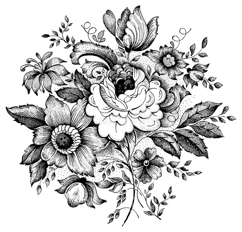 сбор винограда вектора иллюстрации цветка иллюстрация вектора