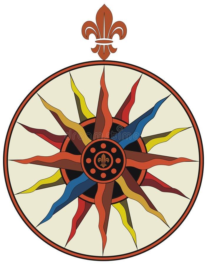 сбор винограда вектора компаса de fleur lis иллюстрация штока