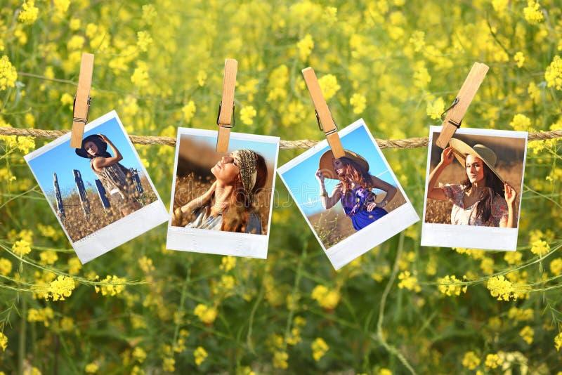 сбор винограда веревочки портретов пленки вися стоковое изображение