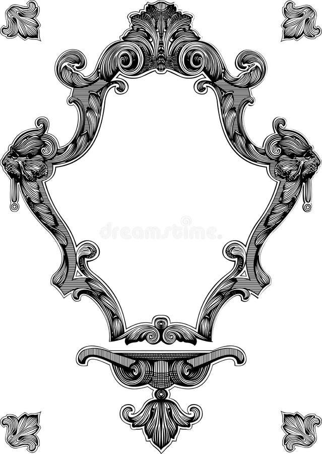 сбор винограда декоративной рамки богато украшенный королевский иллюстрация штока