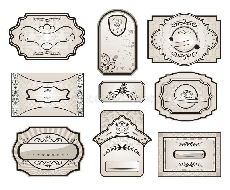сбор винограда изменения комплекта 7 ярлыков ретро иллюстрация вектора