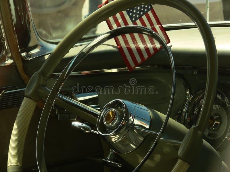 сбор винограда интерьера флага автомобиля стоковое изображение rf