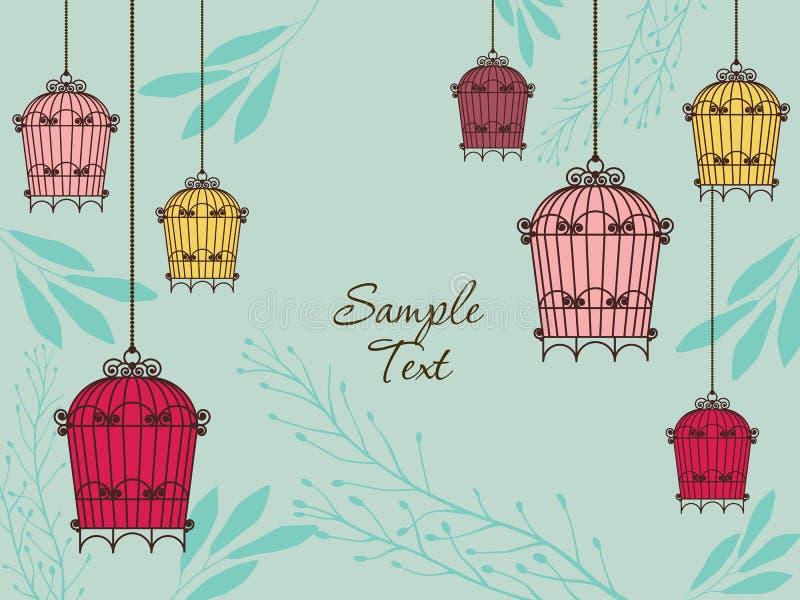 сбор винограда карточки birdcages иллюстрация штока