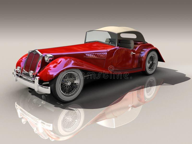 сбор винограда красного цвета модели автомобиля 3d стоковое фото rf