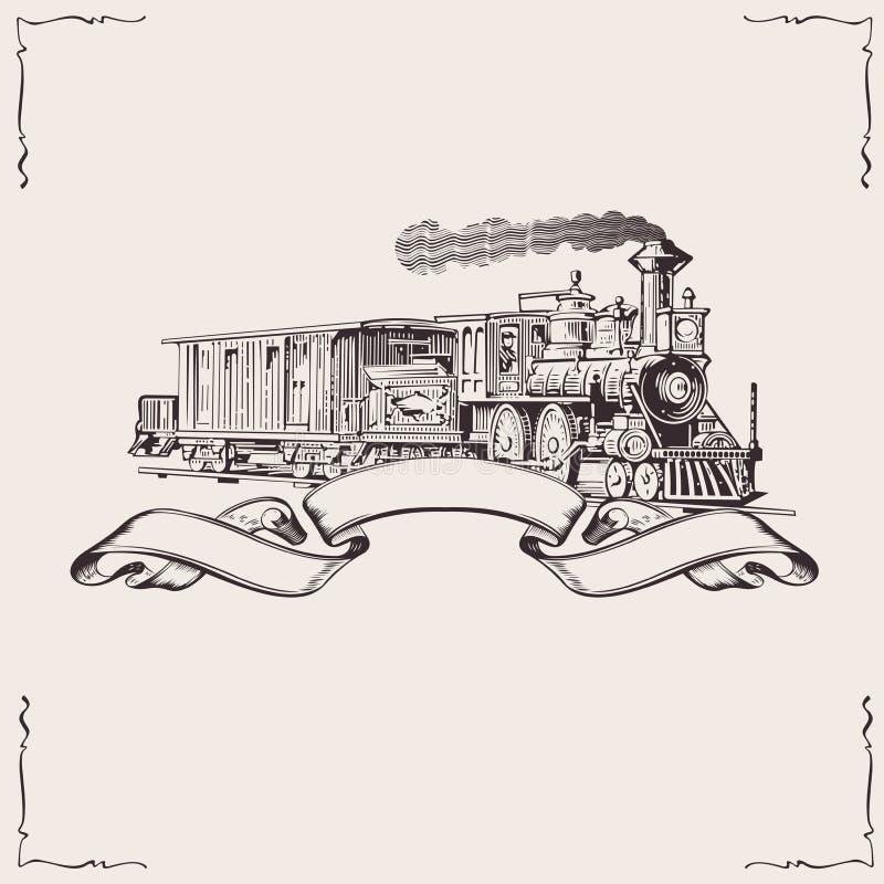 сбор винограда паровоза знамени иллюстрация штока