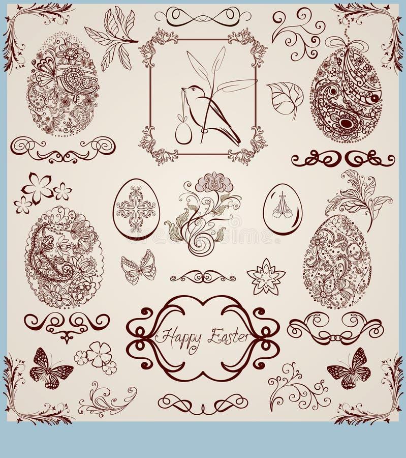 сбор винограда пасхи установленный стилизованный бесплатная иллюстрация