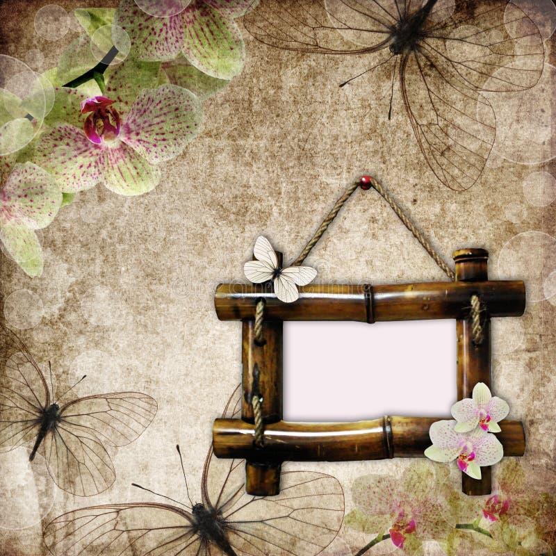 сбор винограда рамки предпосылки bamboo иллюстрация вектора
