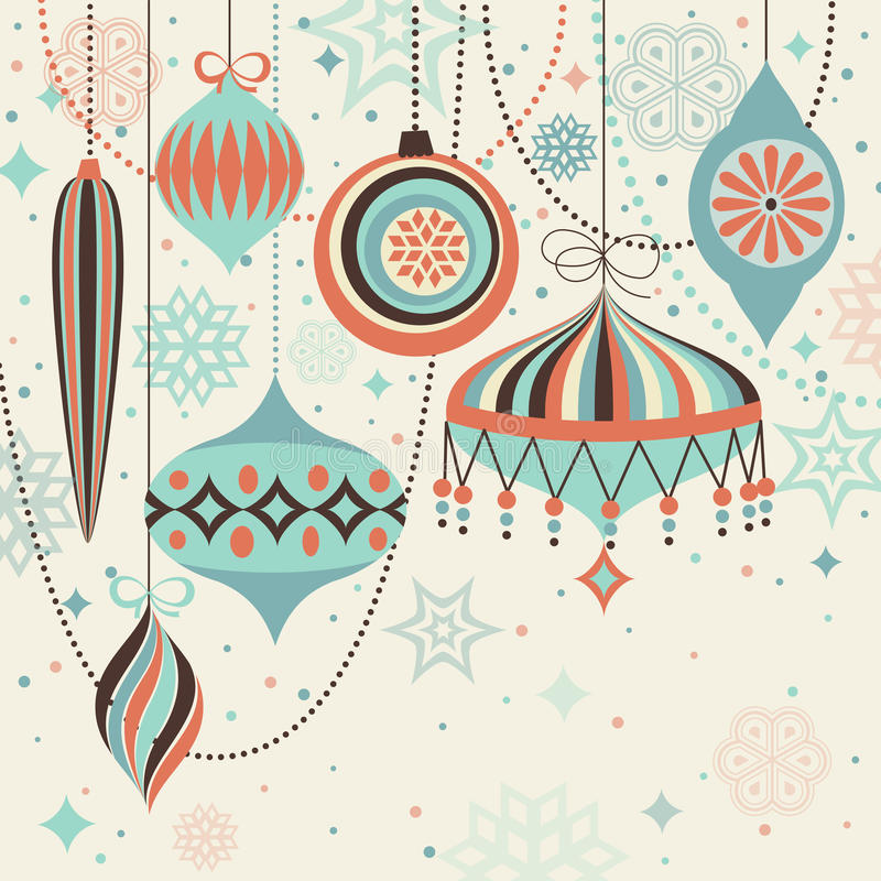 сбор винограда рождества карточки baubles иллюстрация вектора
