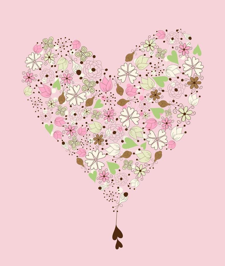 сбор винограда сердца руки чертежа иллюстрация вектора