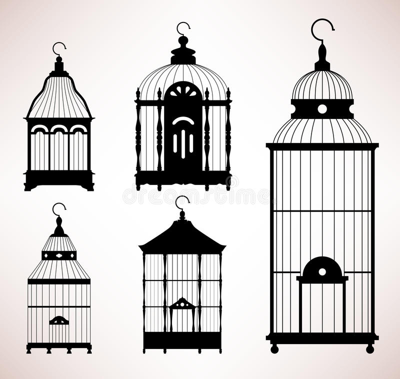 сбор винограда силуэта клетки birdcage птицы ретро иллюстрация штока