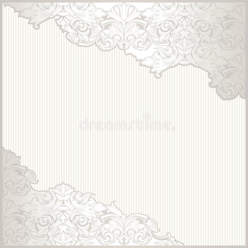 сбор винограда текста места предпосылки Белый, элегантный, роскошь с орнаментом жемчуг-серебра сияющим и барочным иллюстрация вектора