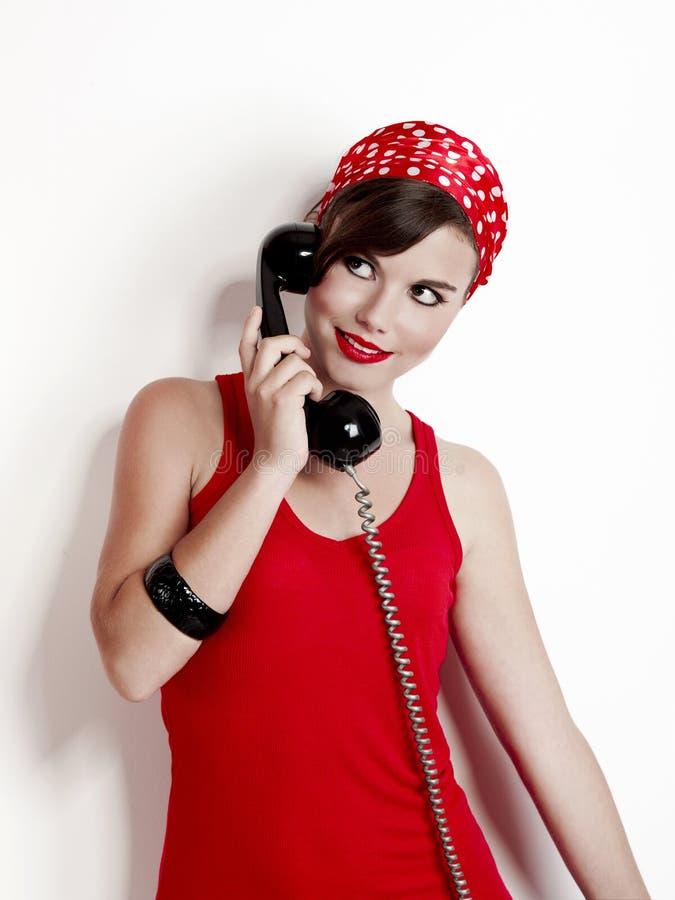 сбор винограда телефона девушки стоковые изображения rf