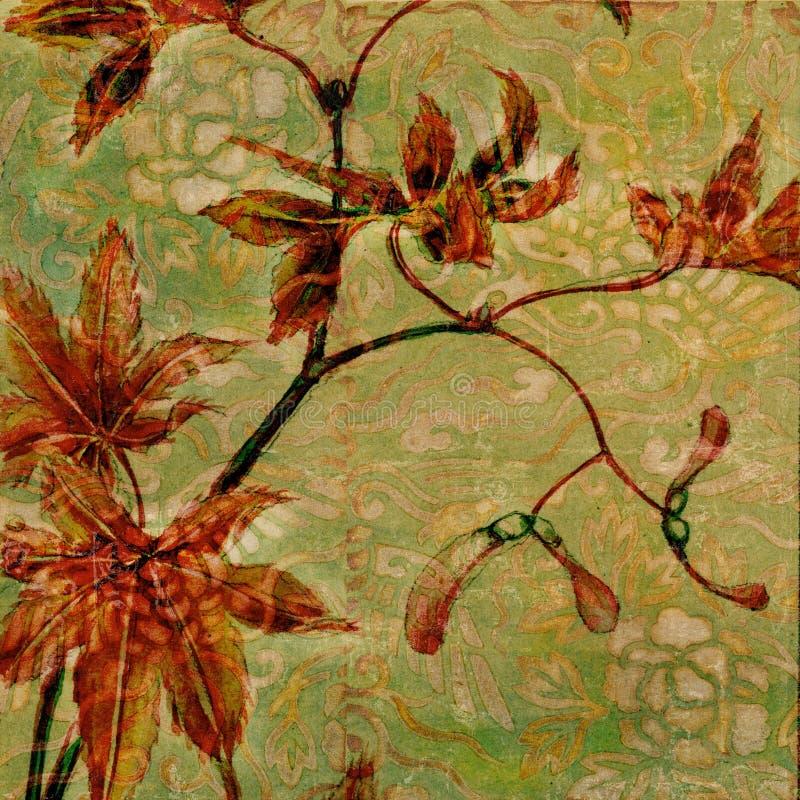 сбор винограда темы античной предпосылки флористический иллюстрация вектора